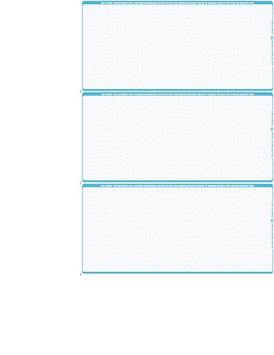 Teal Marble Blank Personal Size 3 Per Page Laser Checks