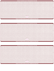 Burgundy Safety Blank High Security 3 Per Page Laser Checks