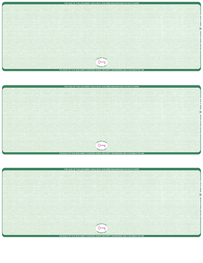 Green Safety Blank High Security 3 Per Page Laser Checks