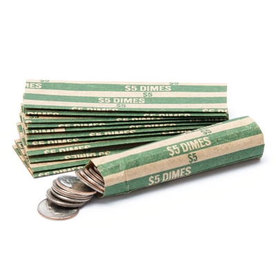 Dime Flat Striped Coin Wrappers