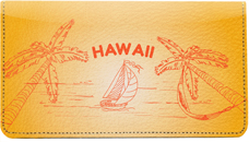 Sail to Paradise Leather Checkbook Cover