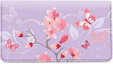 Cherry Blossoms Leather Checkbook Cover