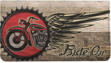 V Twin Chopper Leather Checkbook Cover