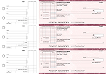 Burgundy Marble Standard Itemized Invoice Business Checks