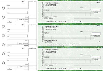 Green Marble Itemized Counter Signature Business Checks