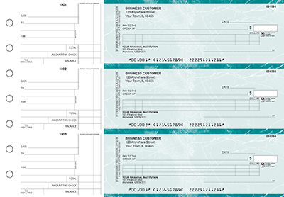 Teal Marble Itemized Counter Signature Business Checks