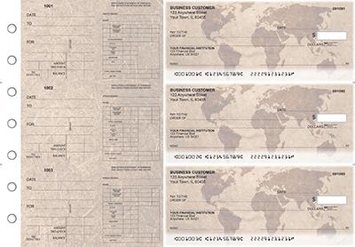 World Map Dual Purpose Voucher Business Checks