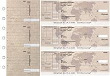World Map Itemized Invoice Business Checks