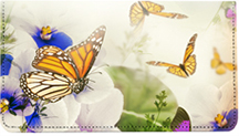 Spring Time Butterflies Leather Checkbook Cover