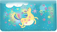 Cartoon Unicorns Leather Checkbook Cover