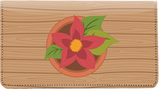 Potted Flowers Leather Checkbook Cover