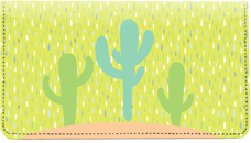 Colorful Cacti Leather Checkbook Cover