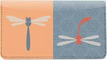 Retro Dragonflies Leather Checkbook Cover