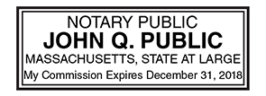 Massachusetts Public Notary Rectangle Stamp Image Color Is Enhanced To Show Details