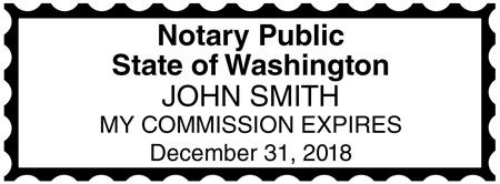 Washington Public Notary Rectangle Stamp