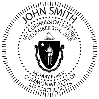 Massachusetts Notary Public Round Stamp Image Color Is Enhanced To Show Details