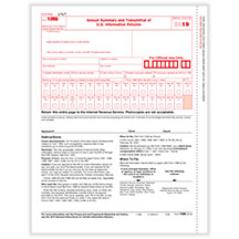 1096 Annual Summary/Transmittal of U.S. Information Returns. Laser Cut Sheet, 20# paper weight. Employer files this form electronicaly, comes in 10 or 25 per pack