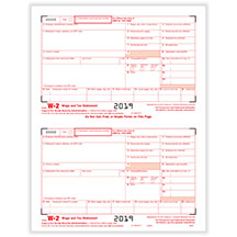 W-2 Copy A for Federal IRS, 1 page equals 2 forms