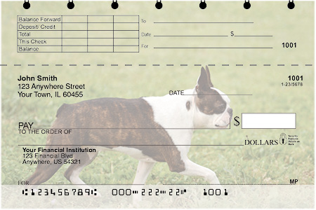 Boston Terrier Top Stub Checks