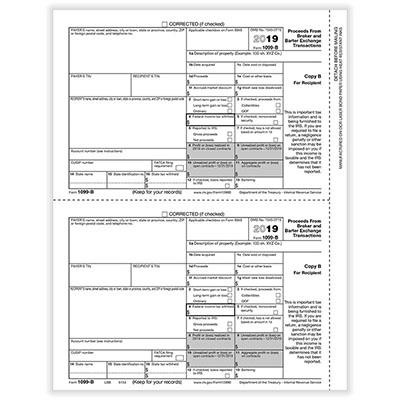 1099-b Broker Rec Copy B Cut Sheet