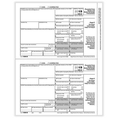 1099-b Broker Payer Or State Copy C Cut Sheet
