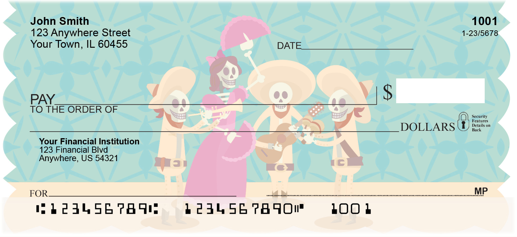 Dia de los Muertos Personal Checks