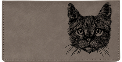 Tabby Cat Engraved Leather Cover