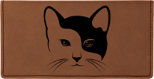 Yin Yang Kitty Engraved Leather Cover