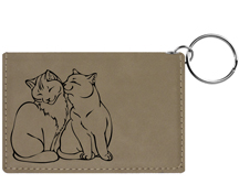 Purrfect Love Engraved Leather Keychain Wallet