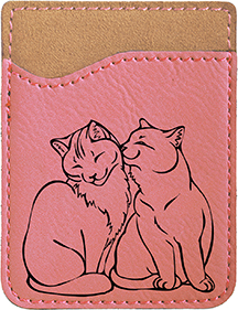 Purrfect Love Engraved Leather Phone Wallet