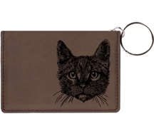 Tabby Cat Engraved Leather Keychain Wallet