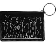 Cat Tails Engraved Leather Keychain Wallet