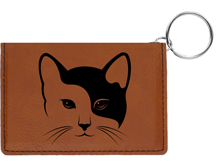 Yin Yang Kitty Engraved Leather Keychain Wallet