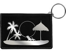Paradise Beach Engraved Leather Keychain Wallet