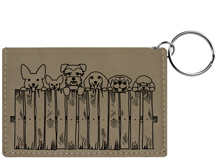 Peeking Pups Engraved Leather Keychain Wallet