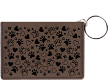 Paw Prints Engraved Leather Keychain Wallet