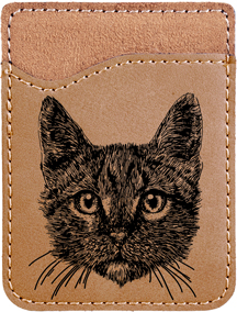 Tabby Cat Engraved Leather Phone Wallet