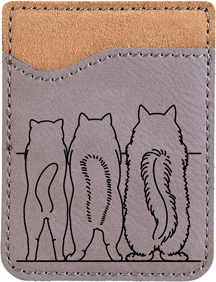 Cat Tails Engraved Leather Phone Wallet