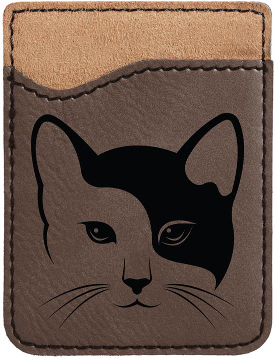 Yin Yang Kitty Engraved Leather Phone Wallet