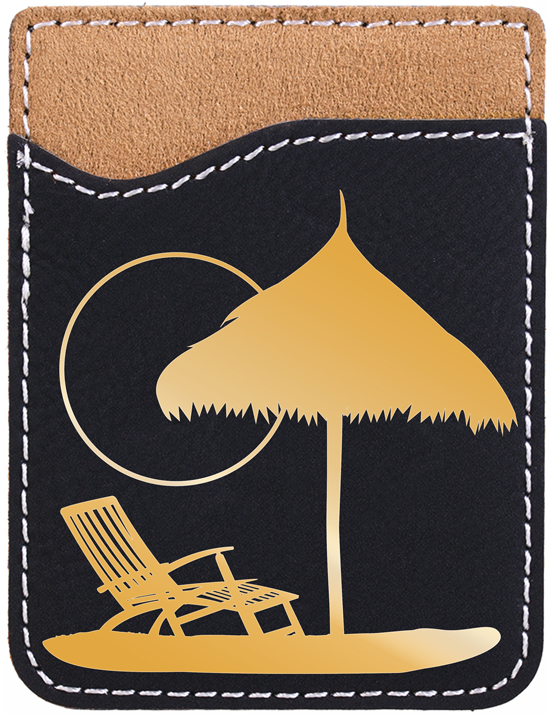 Paradise Beach Engraved Leather Phone Wallet