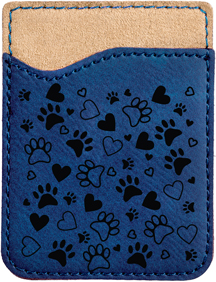 Paw Prints Engraved Leather Phone Wallet