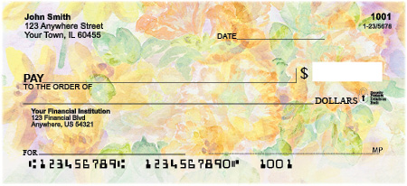 Painted Flowers Personal Checks
