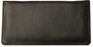 Black Smooth Leather Checkbook Cover