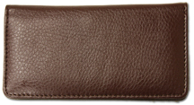 Dark Brown Textured Leather Checkbook Cover