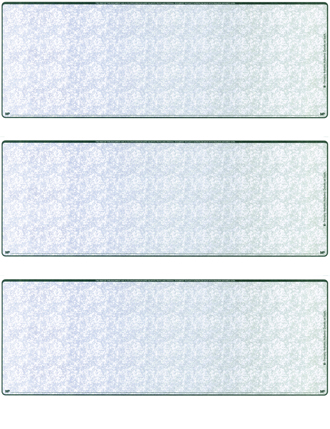 Blue Green Blank 3 Per Page Laser Checks