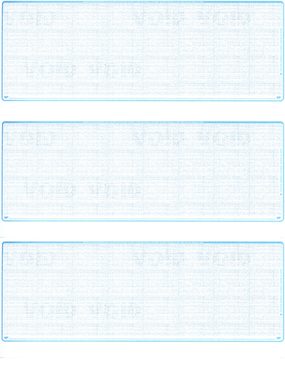 Teal Safety Blank 3 Per Page Laser Checks