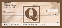 Simplistic Monogram Q Personal Checks