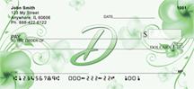 Monogram Letter D Pretty Floral Checks