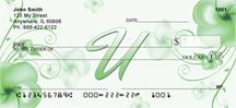 Monogram Letter U Pretty Floral Checks