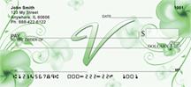 Monogram Letter V Pretty Floral Checks